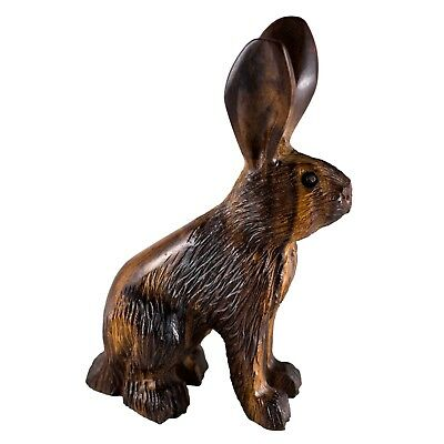 "Hand Carved Wood Wooden Ironwood Jackrabbit Rabbit Figurine 5"" High"