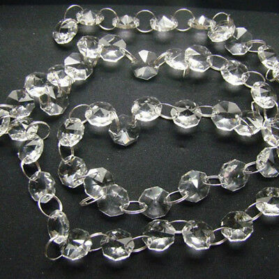 1M Clear Acrylic Chandelier Lights Accessories Prism Octagonal 40pc Beads Chain