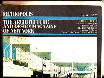METROPOLIS THE ARCHITECTURE and Design Magazine of New York July 1981 NYC  Solar