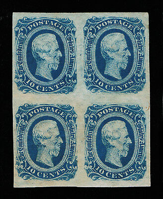 Genuine Confederate Csa Scott #12 Block-4 Mint Og Deep Blue Die-B Keatinge Ball
