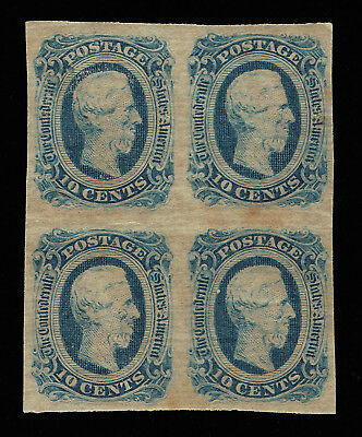 Genuine Confederate Csa Scott #12 Die-B Block Of 4 Mint Og Blue Archer & Daly