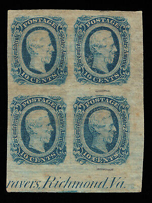Genuine Confederate Csa Scott #12 Die-B Imprint Block-4 Mint Og Blue Archer Daly