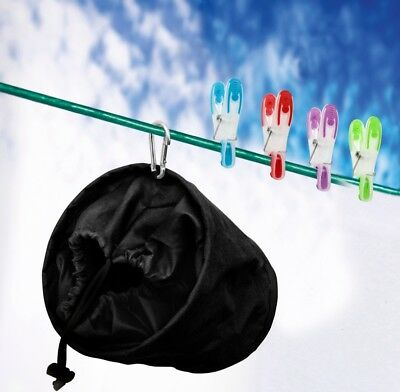 SupaHome Deluxe Hanging Clothes Peg Bag Black - With Clip Hook