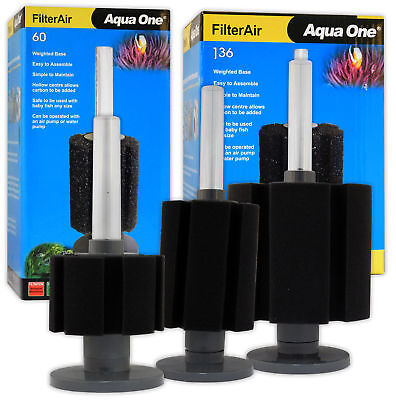 Aqua One FilterAir 30 60 136 Aeration Filter Sponge Weighted Fish Tank Aquarium