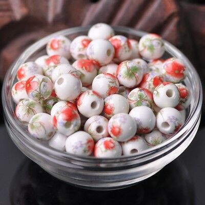 NEW 20pcs 10mm Round Smooth Ceramic Loose Spacer Beads Flower Pattern #30