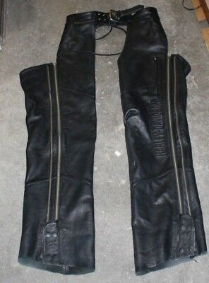 Harley Davidson Black Leather Motorcycle Chaps Mens Size Medium Free Shipping