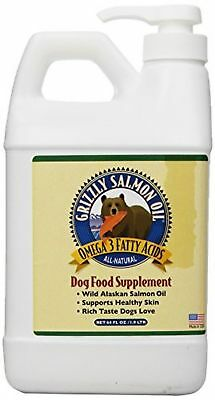 64oz OUNCE GRIZZLY SALMON OIL DOG CAT FOOD SUPPLEMENT *FRESH*
