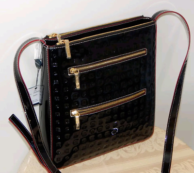 8027fe0a7719 NWT ARCADIA BLACK Patent Leather CROSSBODY BAG Purse from ITALY ...