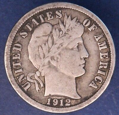 1912 Barber US dime, 10 ten cents coin, 90% silver *[13508]