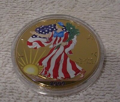 2000 Colorized U.S. American Silver Eagle Dollar - Golden Enhanced on Both Sides