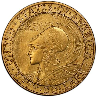 PANAMA PACIFIC ROUND 1915-S $50 Gold Commemorative PCGS MS65