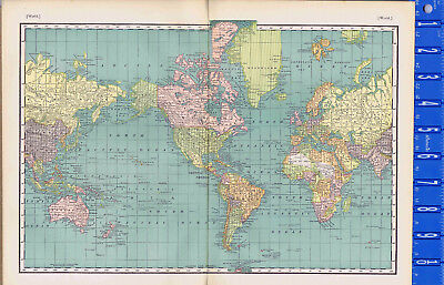 The WORLD -  1895 Antique Map