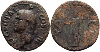 FORVM Agrippa AE29 As Struck by Caligula 38 AD Neptune Holds Dolphin Trident