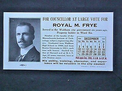 Royal M Frye Councilor At Large Collectible Advertising Blotter Political 1922
