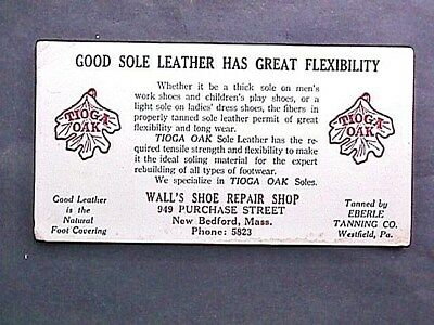 Wall's Shoe Repair New Bedford MA Collectible Advertising Blotter