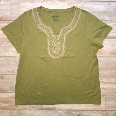 603378e9 Womens Plus Size 2X Faded Glory Green Embroidered T-shirt Tee Shirt Top 20W  18W