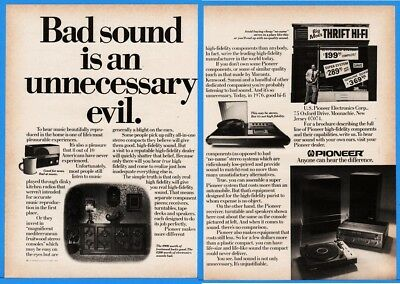 1976 Pioneer Electronics Turntable Stereo Receiver Bad Sound Unnecessary Evil Ad