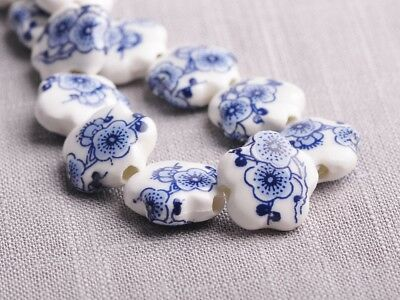 NEW 10pcs 15X6mm Ceramic Flower Shape Spacer Loose Beads Findings Pattern  #17