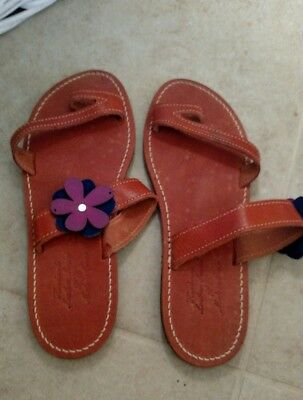 Ancient Greek Handmade Leather Sandals Made in Greece Flower size 42 EUC
