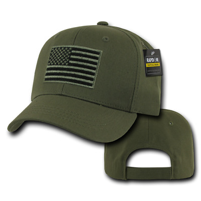 US Tactical Operator Cap Mütze w Embroidered gestickter USA Flag Flagge Oliv