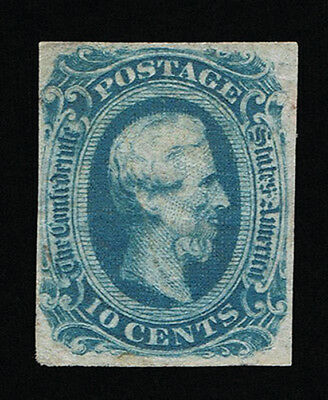 GENUINE CONFEDERATE CSA SCOTT #12d MINT NG DIE-B DARK BLUE ARCHER DALY PRINTING