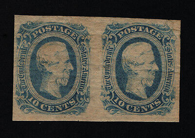 GENUINE CONFEDERATE CSA SCOTT #12d PAIR MINT OG DIE-B DARK BLUE ARCHER & DALY