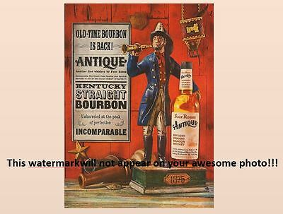 Vintage Four Roses Bourbon Whiskey PHOTO Advertisement Fireman Bottle Ad Sign