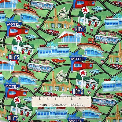 Travel Fabric - Route 66 Retro Diner Hotel Map Green - Timeless Treasures 16""