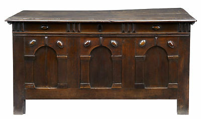 17Th Century Antique Jacobean Arcaded Small Oak Coffer