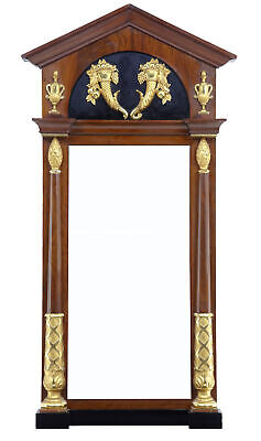 Early 19Th Century Regency Mahogany Carved Gilt Swedish Floor Standing Mirror