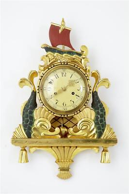 20TH CENTURY 1940's GILT AND PAINTED SWEDISH WALL CLOCK