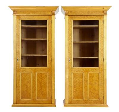 Pair Of Early 20Th Century Birch Glazed Cupboards