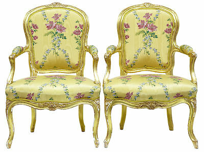 Near Pair Of 18Th Century Louis Xv French Gilt Fauteuil Armchairs By Michard