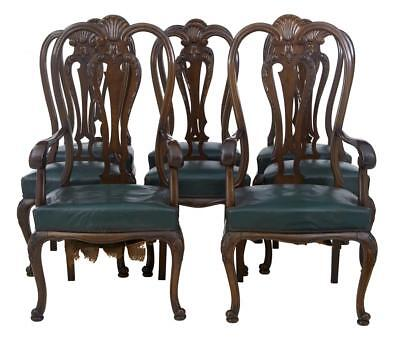 Set Of 6+2 Early 20Th Century Queen Anne Mahogany Dining Chairs