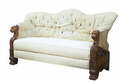 Rare 19Th Century Carved Walnut And Mahogany Buttonback Sofa