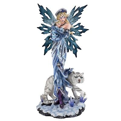 """Blue Fairy With Baby and White Tiger Figurine Statue 12"""" High Resin New In Box!"""