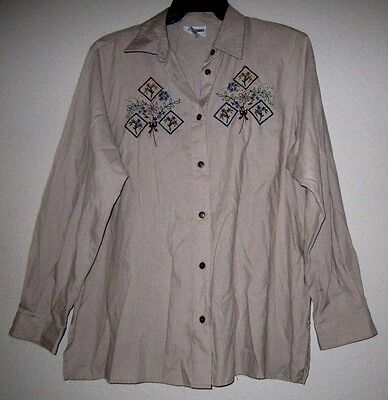 67a29be7 ALFRED DUNNER Stripe Tan Embroidery Embellish Blouse Tunic Top Shirt Plus  16W/1X