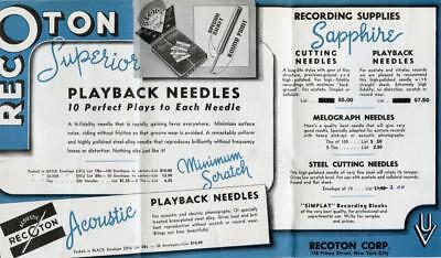 Vtg 1930s Deco RECOTON Phonograph Needles & Record Cleaner Advertising Brochure