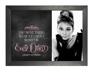 24 Audrey Hepburn British actress Model Poster Hollywood Star Black White Quote