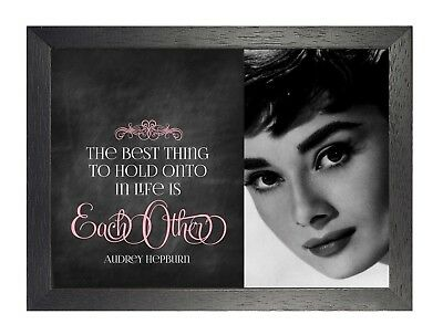 22 Audrey Hepburn British actress Model Poster Hollywood Star Black White Quote