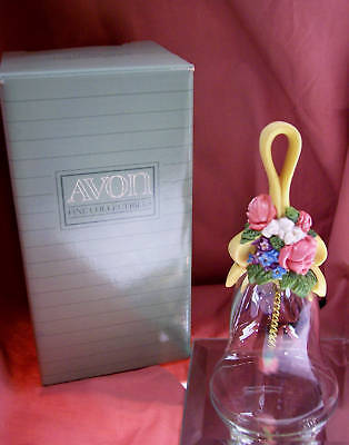 Avon CRYSTAL BELL FLORAL BOUQUET 1989 LE w/Bx *FREE SHIP