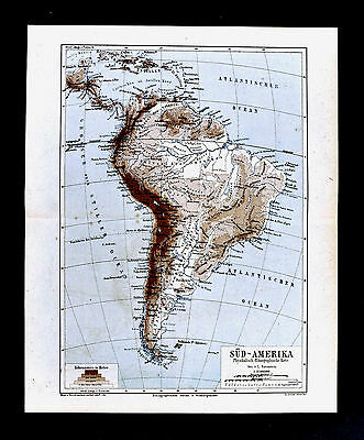 1875 Meyer - Physical Map of South America - Andes - Brazil Argentina Chile Peru