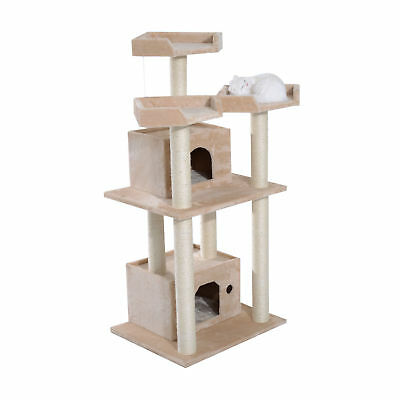 """Pawhut 52"""" Cat Tree Scratcher Play House Condo Furniture Bed Post Pet House"""