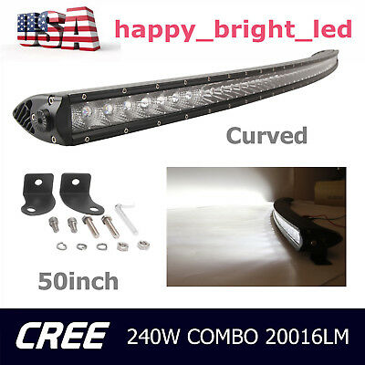 50inch 240W CREE Curved LED Light Bar Single Row Slim Combo SUV 4X4 Offroad Ford