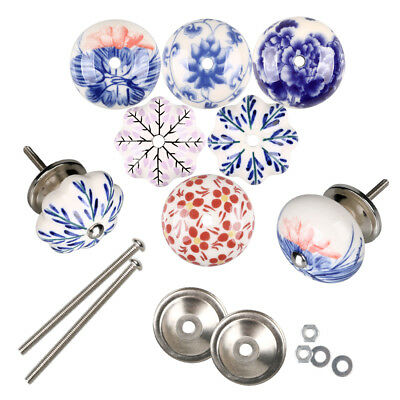Set of 6 Blue and white Hand Painted Ceramic Pumpkin Knobs Cabinet Drawer Handle