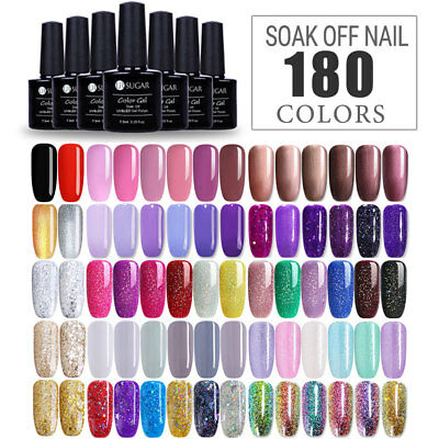 180 COLORS 7.5ml Soak Off LED UV Gel Nail Polish Sequins Glitter Gel Varnish