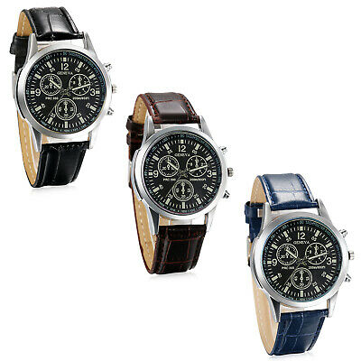 Fashion Men's Leather Band Casual Military Round Dial Quartz Sport Wrist Watch