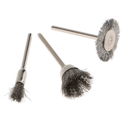 Steel Wire Brush Polishing Wheels Full Kit for Rotary Tools (Pack 3)