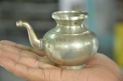 Old Brass Handcrafted Unique Small Nickel Plated Holy Water Pot , Rich Patina
