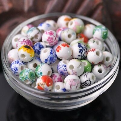 NEW 20pcs 10mm Round Smooth Ceramic Loose Spacer Beads Random Mixed Color